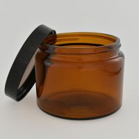 Glass jar 500 ml brown, with black bakelite lid