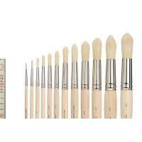 Bristle Brush in ferrule, round, size 2 - 12 (set 6)
