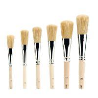 Bristle Brush in ferrule, flat, size 6 - 22 (set 8)