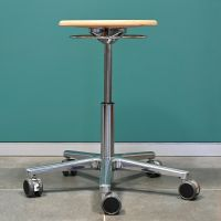 RESKO Work Stool, beech wood seat, castors, low
